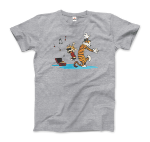 Calvin and Hobbes Dancing with Record Player T-Shirt - Men / Heather Grey / Small by Art-O-Rama