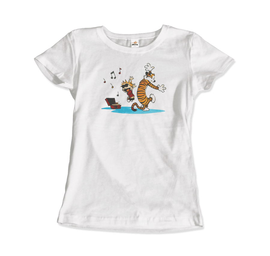 Calvin and Hobbes Dancing with Record Player T-Shirt - Women / White / Small by Art-O-Rama