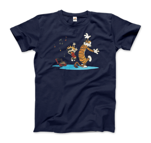 Calvin and Hobbes Dancing with Record Player T-Shirt - Men / Navy / Small by Art-O-Rama