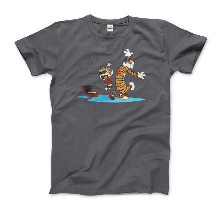Calvin and Hobbes Dancing with Record Player T-Shirt - Men / Charcoal / Small by Art-O-Rama