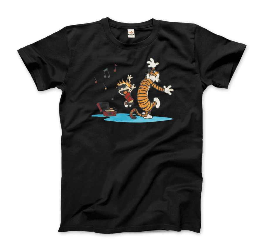 Calvin and Hobbes Dancing with Record Player T-Shirt - Men / Black / Small by Art-O-Rama