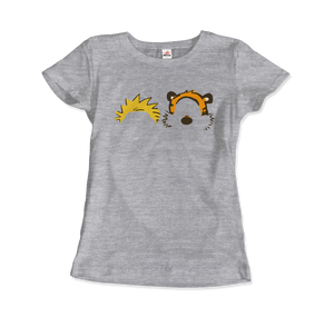 Calvin and Hobbes Faces Contour Artwork T-Shirt - Women / Heather Grey / Small by Art-O-Rama
