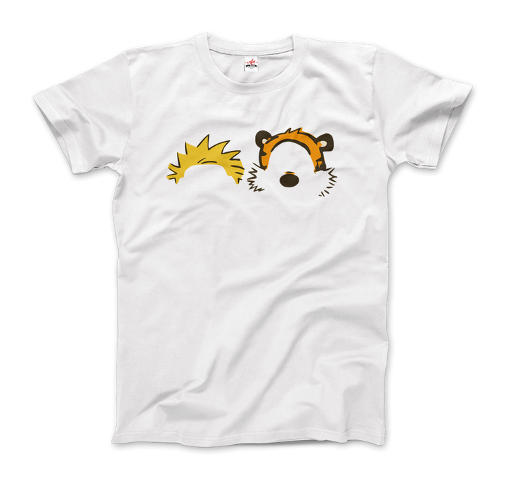 Calvin and Hobbes Faces Contour Artwork T-Shirt - Men / White / Small by Art-O-Rama