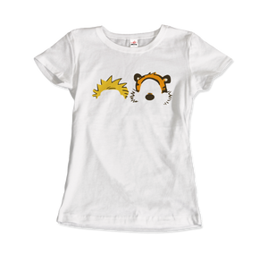 Calvin and Hobbes Faces Contour Artwork T-Shirt - Women / White / Small by Art-O-Rama
