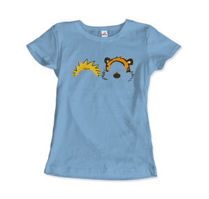 Calvin and Hobbes Faces Contour Artwork T-Shirt - Women / Light Blue / Small by Art-O-Rama