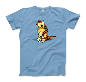 Calvin and Hobbes Hugging Artwork T-Shirt - Men / Light Blue / Small by Art-O-Rama