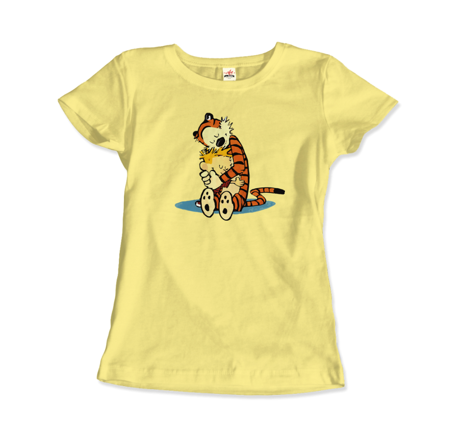 Calvin and Hobbes Hugging Artwork T-Shirt - Women / Spring Yellow / Small by Art-O-Rama