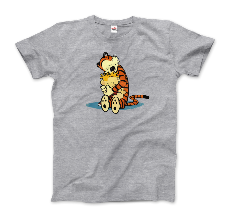 Calvin and Hobbes Hugging Artwork T-Shirt - Men / Heather Grey / Small by Art-O-Rama
