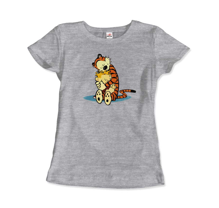 Calvin and Hobbes Hugging Artwork T-Shirt - Women / Heather Grey / Small by Art-O-Rama