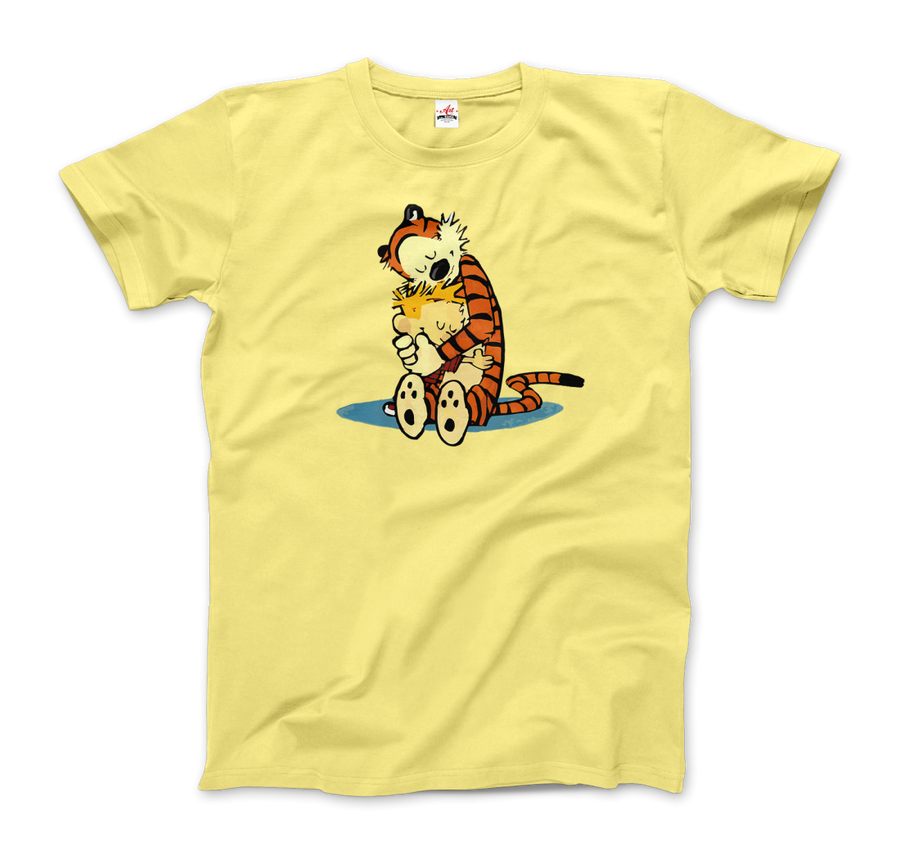 Calvin and Hobbes Hugging Artwork T-Shirt - Men / Spring Yellow / Small by Art-O-Rama