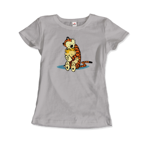 Calvin and Hobbes Hugging Artwork T-Shirt - Women / Silver / Small by Art-O-Rama