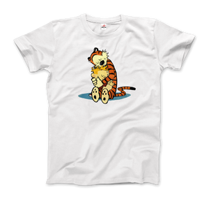 Calvin and Hobbes Hugging Artwork T-Shirt - Men / White / Small by Art-O-Rama