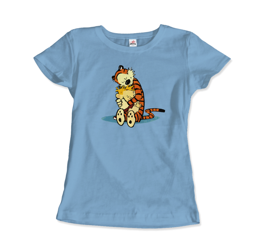 Calvin and Hobbes Hugging Artwork T-Shirt - Women / Light Blue / Small by Art-O-Rama