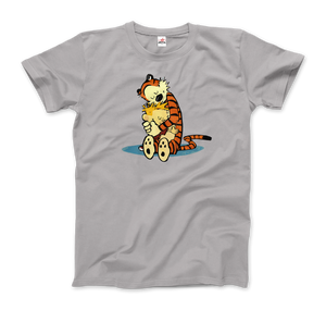 Calvin and Hobbes Hugging Artwork T-Shirt - Men / Silver / Small by Art-O-Rama