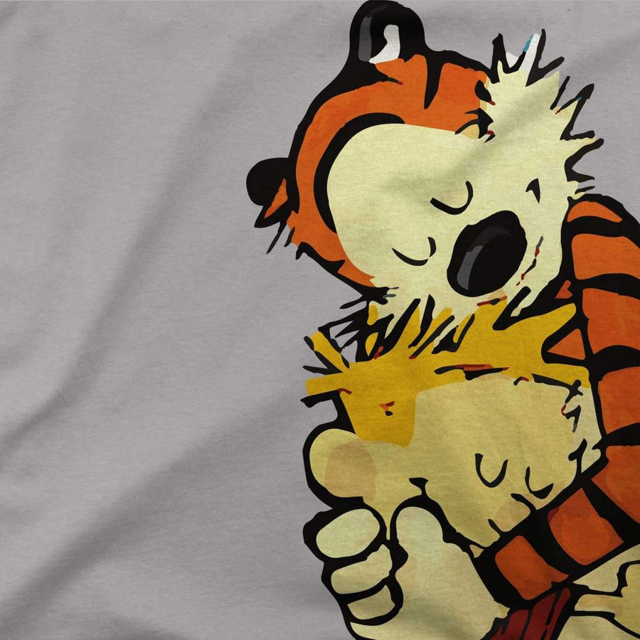 Calvin and Hobbes Hugging Artwork T-Shirt - [variant_title] by Art-O-Rama