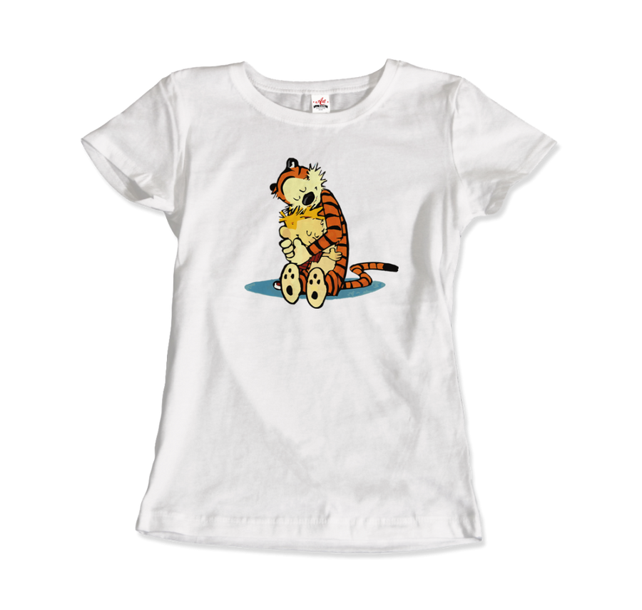 Calvin and Hobbes Hugging Artwork T-Shirt - Women / White / Small by Art-O-Rama