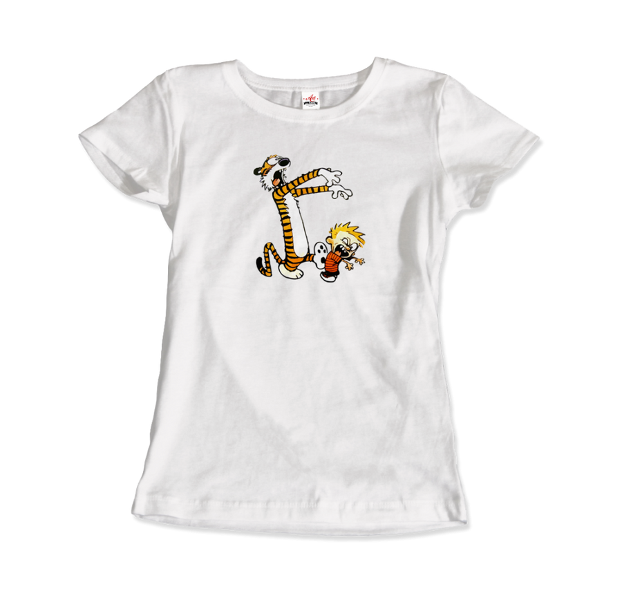 Calvin and Hobbes Playing Zombies Artwork T-Shirt - Women / White / Small by Art-O-Rama