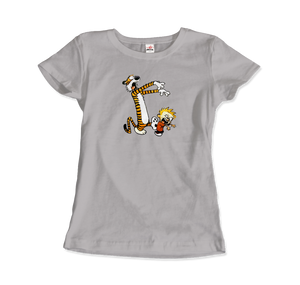 Calvin and Hobbes Playing Zombies Artwork T-Shirt - Women / Silver / Small by Art-O-Rama