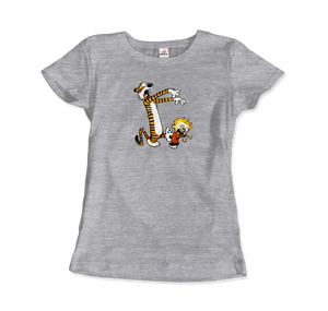 Calvin and Hobbes Playing Zombies Artwork T-Shirt - Women / Heather Grey / Small by Art-O-Rama