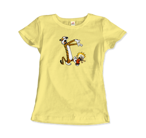 Calvin and Hobbes Playing Zombies Artwork T-Shirt - Women / Spring Yellow / Small by Art-O-Rama
