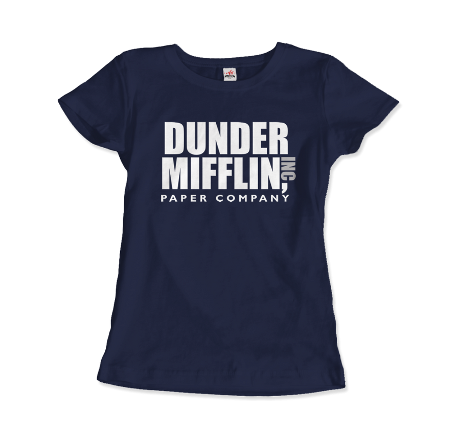 Dunder Mifflin Paper Company, Inc from The Office T-Shirt - Women / Navy / Small by Art-O-Rama