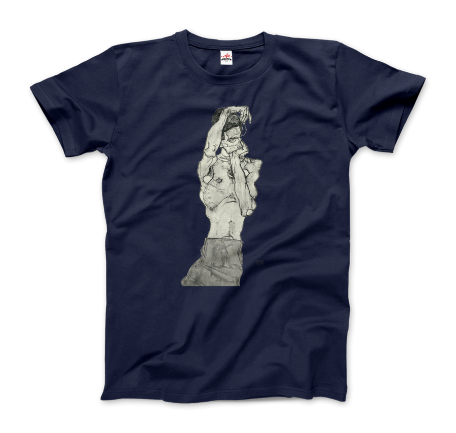 Egon Schiele Zeichnungen II (Drawings 2) 1914 T-Shirt - Men / Navy / Small by Art-O-Rama