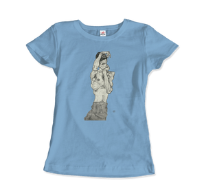 Egon Schiele Zeichnungen II (Drawings 2) 1914 T-Shirt - Women / Light Blue / Small by Art-O-Rama
