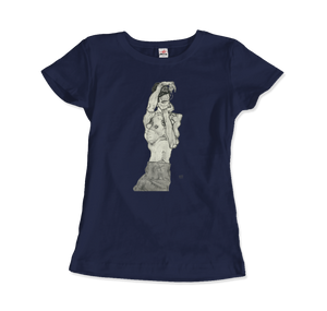 Egon Schiele Zeichnungen II (Drawings 2) 1914 T-Shirt - Women / Navy / Small by Art-O-Rama