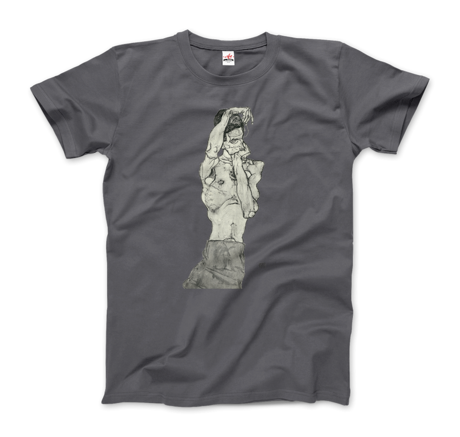 Egon Schiele Zeichnungen II (Drawings 2) 1914 T-Shirt - Men / Charcoal / Small by Art-O-Rama