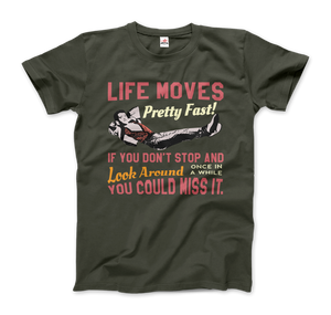 Ferris Bueller's Day Off Life Moves Pretty Fast T-Shirt - Men / City Green / Small by Art-O-Rama