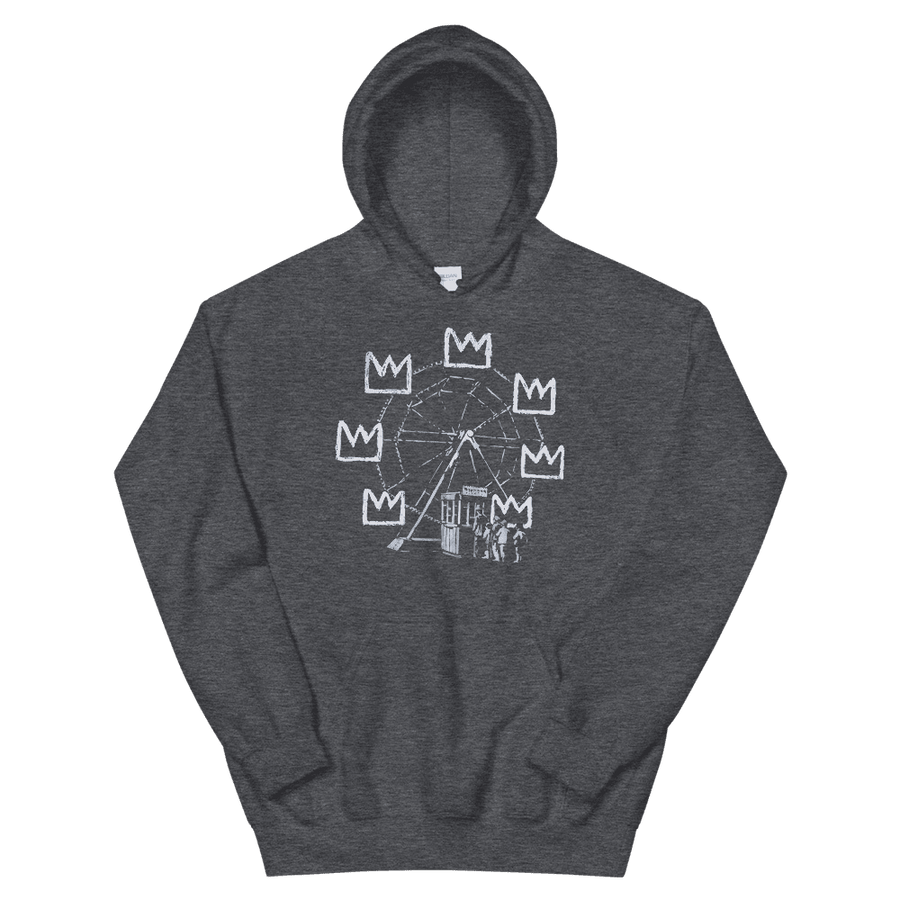 Banksy Ferris Wheel Homage to Basquiat Artwork Unisex Hoodie - Dark Heather / S by Art-O-Rama