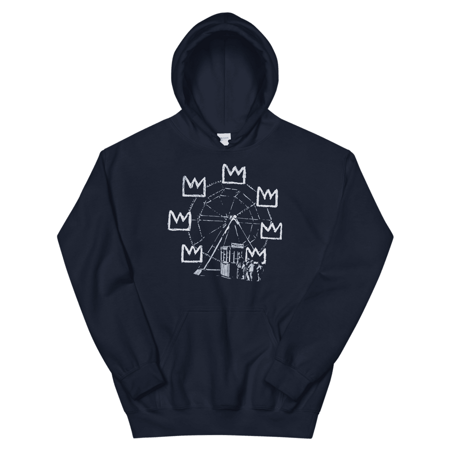 Banksy Ferris Wheel Homage to Basquiat Artwork Unisex Hoodie - Navy / S by Art-O-Rama
