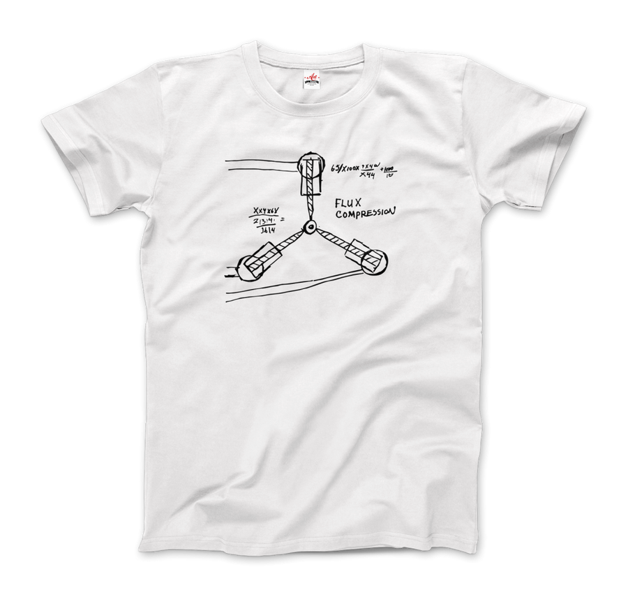 Flux Capacitor Sketch from Back to the Future T-Shirt - Men / White / Small by Art-O-Rama