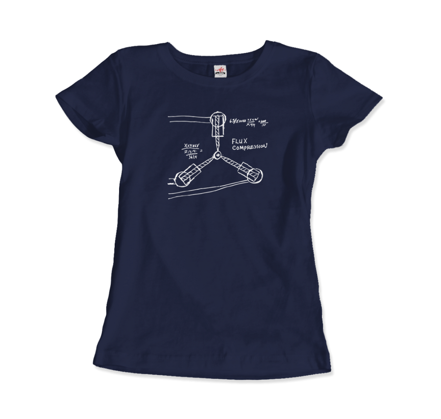 Flux Capacitor Sketch from Back to the Future T-Shirt - Women / Navy / Small by Art-O-Rama