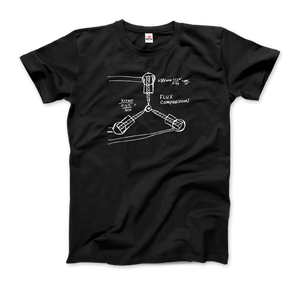 Flux Capacitor Sketch from Back to the Future T-Shirt - Men / Black / Small by Art-O-Rama