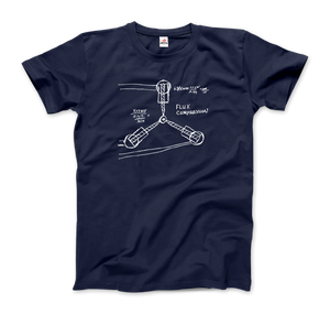 Flux Capacitor Sketch from Back to the Future T-Shirt - Men / Navy / Small by Art-O-Rama
