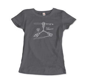 Flux Capacitor Sketch from Back to the Future T-Shirt - Women / Charcoal / Small by Art-O-Rama
