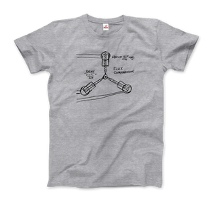 Flux Capacitor Sketch from Back to the Future T-Shirt - Men / Heather Grey / Small by Art-O-Rama