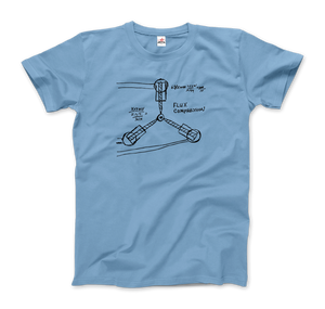 Flux Capacitor Sketch from Back to the Future T-Shirt - Men / Light Blue / Small by Art-O-Rama