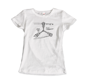 Flux Capacitor Sketch from Back to the Future T-Shirt - Women / White / Small by Art-O-Rama