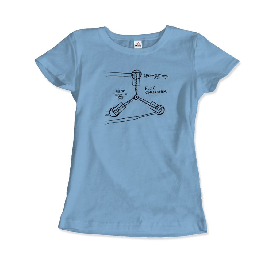 Flux Capacitor Sketch from Back to the Future T-Shirt - Women / Light Blue / Small by Art-O-Rama