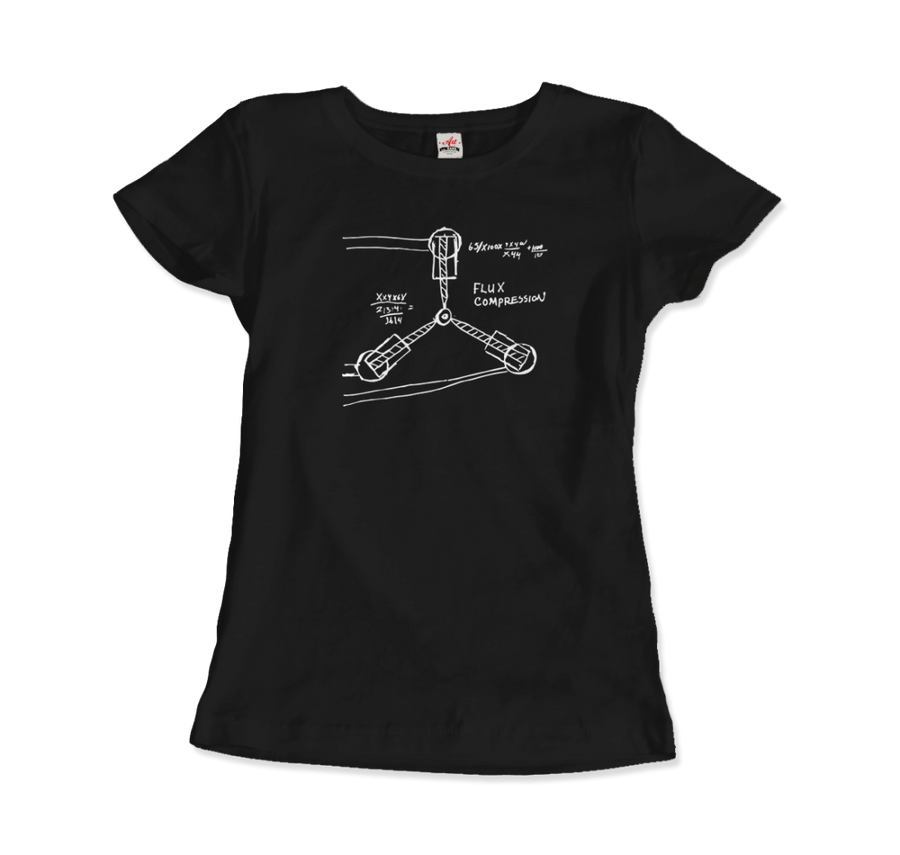 Flux Capacitor Sketch from Back to the Future T-Shirt - Women / Black / Small by Art-O-Rama