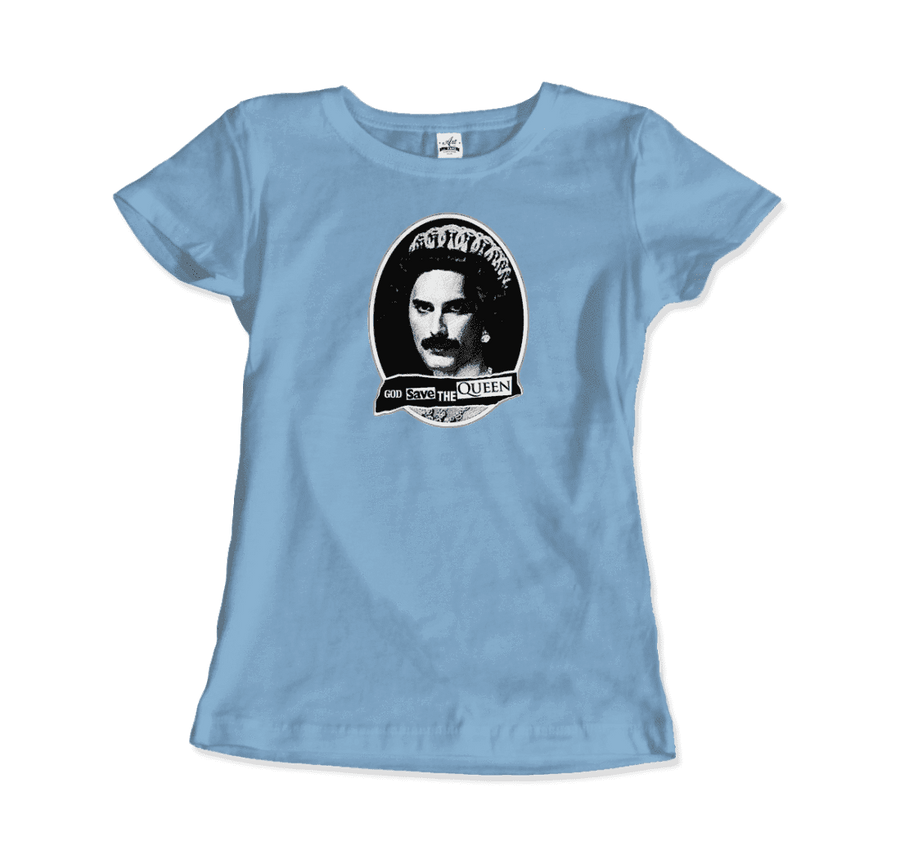 Freddie Mercury God Save The Queen Parody T-Shirt - Women / Light Blue / Small by Art-O-Rama