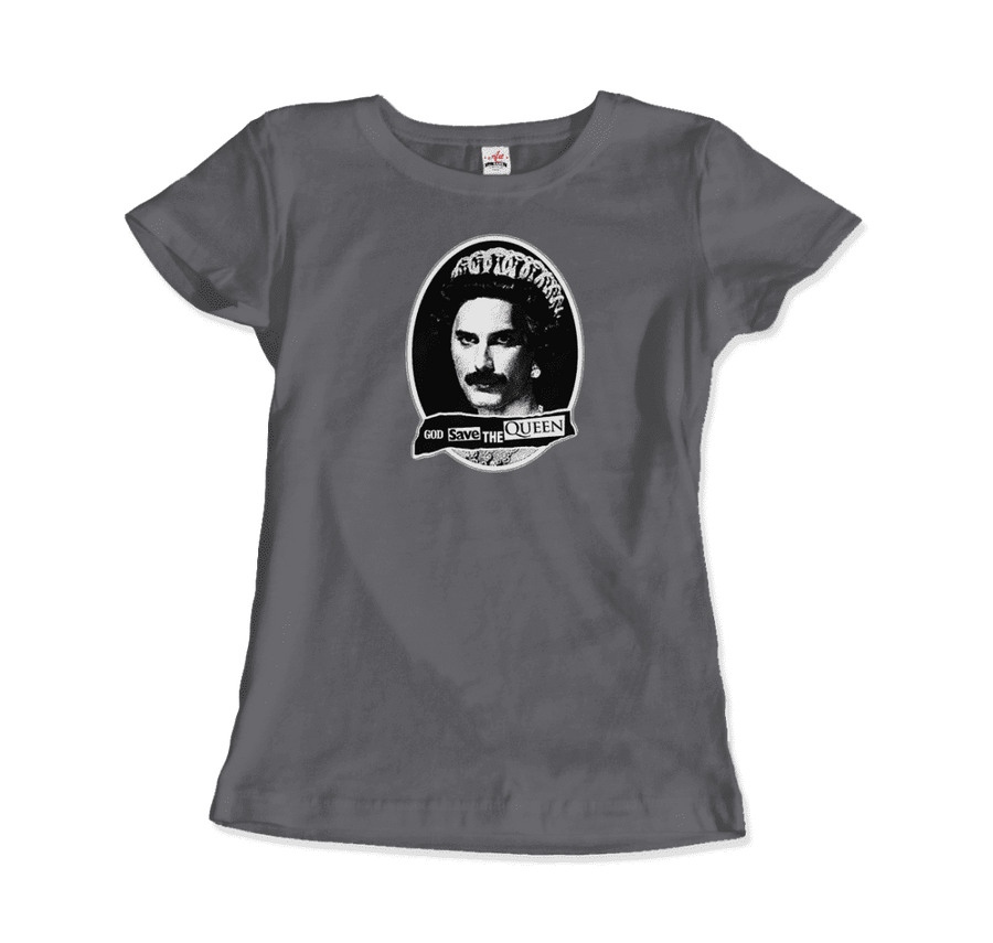 Freddie Mercury God Save The Queen Parody T-Shirt - Women / Charcoal / Small by Art-O-Rama