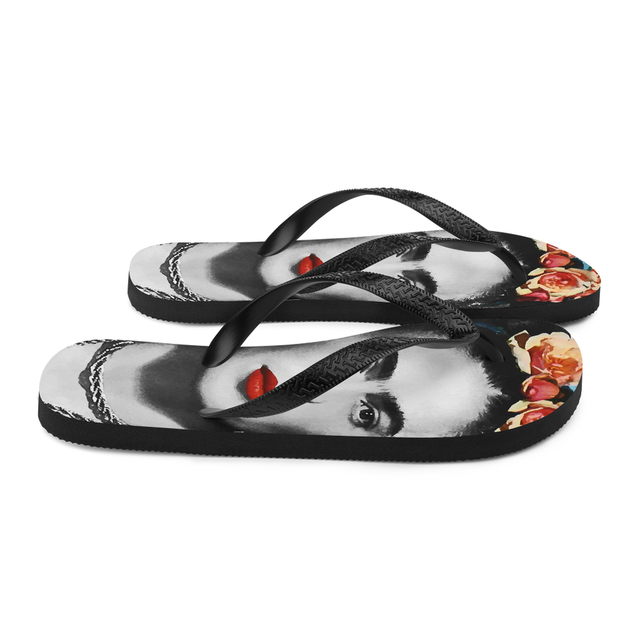 Frida Kahlo With Flowers Poster Artwork Flip-Flops - [variant_title] by Art-O-Rama