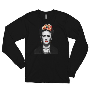 Frida Kahlo With Flowers Poster Artwork Long Sleeve Shirt - Black / Small by Art-O-Rama