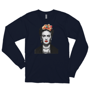 Frida Kahlo With Flowers Poster Artwork Long Sleeve Shirt - Navy / Small by Art-O-Rama