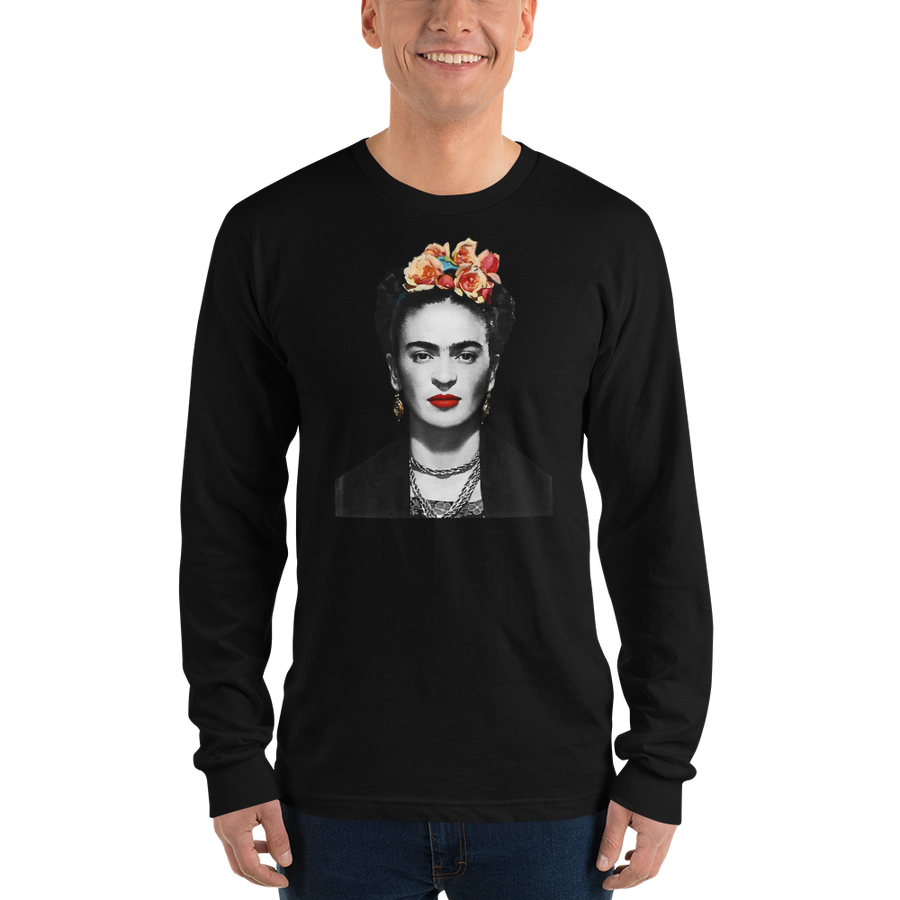 Frida Kahlo With Flowers Poster Artwork Long Sleeve Shirt - [variant_title] by Art-O-Rama