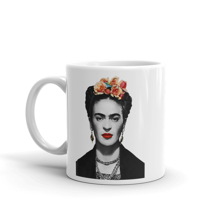 Frida Kahlo With Flowers Poster Artwork Mug - 11oz (325mL) by Art-O-Rama