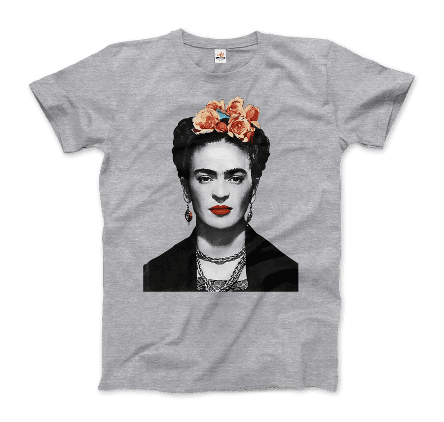 Frida Kahlo With Flowers Poster Artwork T-Shirt - Men / Heather Grey / Small by Art-O-Rama